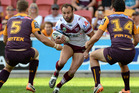 Brett Stewart of the Sea Eagles looks for a way through the defence during the round 12 NRL match between the Brisbane Broncos and the Manly-Warringah Sea Eagles. Photo / Getty Images.