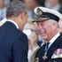 Britain's Prince Charles, right, laughs as he meets U.S. President Barak Obama, during an International Ceremony with Heads of State at Sword Beach Ouistreham France. Photo / AP