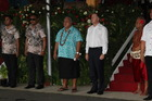 Prime Minister John Key and Samoa Prime Minister Tuilaepa enjoy the Independence Day celebrations in Apia.
