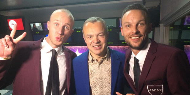 Jono Pryor (far left and above) and Ben Boyce tackled the red chair before meeting host Graham Norton after his show.