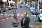 The impact of earthquake strengthening on a city that barely registers any tremors from one year to the next has focussed the minds of Tauranga downtown retailer Bill Campbell (left) and Denis McMahon of Property Managers. Photo/John Borren