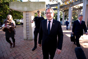 Act MP John Banks arrives at the Auckland High Court before being found guilty today. Photo / Dean Purcell.