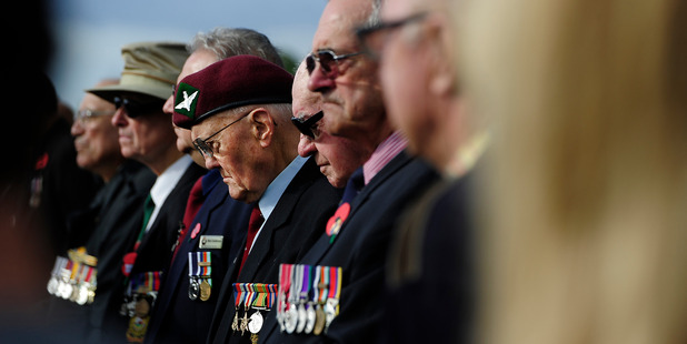 Veterans stand at the RSA ANZAC Day Memorial Service at the Cenotaph Mount Maunganui earlier this year.