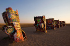 The Cadillac Ranch, Amarillo, Texas. Photo / Louis C Vest (Creative Commons)