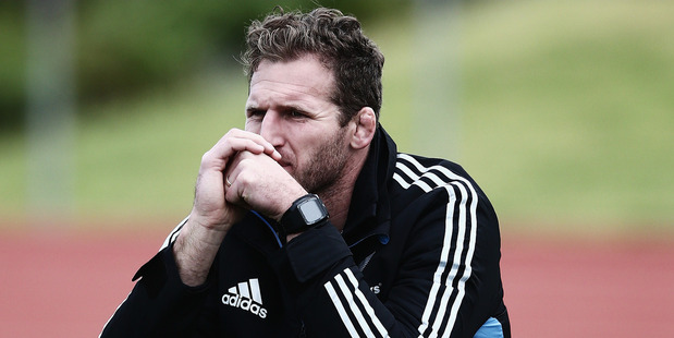 Kieran Read of the All Blacks looks on from the sidelines during a New Zealand All Blacks training session. Photo/ Getty Images