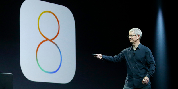 Apple CEO Tim Cook speaks about iOS 8 at the Apple Worldwide Developers Conference in San Francisco. Photo / AP