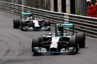 Mercedes driver Nico Rosberg of Germany leads his teammate Lewis Hamilton of Britain during the Monaco Formula One Grand Prix. Picture / AP