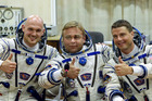 European Space Agency's astronaut Alexander Gerst, left, Russian cosmonaut Maxim Suraev, center, and NASA astronaut Reid Wiseman, crew members currently at the International Space Station. Photo / AP