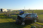 Scene of an accident near Rakaia 31 May 2014 in which a camper van driven by a Dutch tourist failed to stop at a stop sign and crashed into a passenger vehicle.