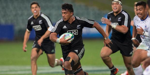 No 8 Matt Peni scored a try for New Zealand during their Junior World Championship win over Samoa. Photo / Brett Phibbs