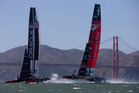 Emirates Team New Zealand leads Oracle Team USA. File photo / Brett Phibbs