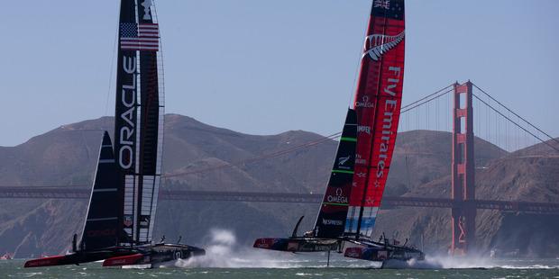 Emirates Team New Zealand leads Oracle Team USA. File photo / Brett Phibbs