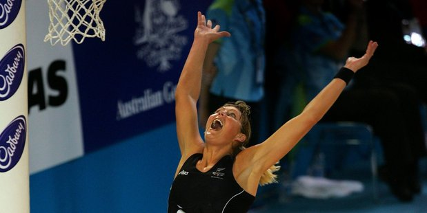 Irene van Dyk celebrates their gold medal against Australia at the 2006 Commonwealth Games in Melbourne. Photo / Brett Phibbs