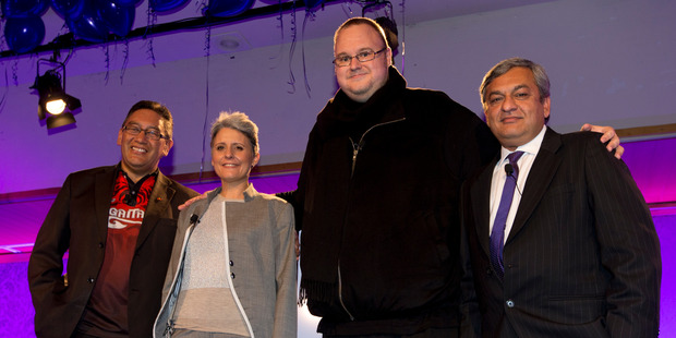 Kim Dotcom (second from right) has announced his intention to run for Parliament. Photo / Brett Phibbs