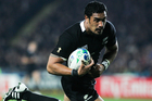 Jerome Kaino on his way to scoring a second half try for the All Blacks. Photo / Ron Burgin