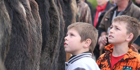 Shaye Dennison, 8 (left) and Joel Hodson, 10, both of Masterton, check out a wall of fur.