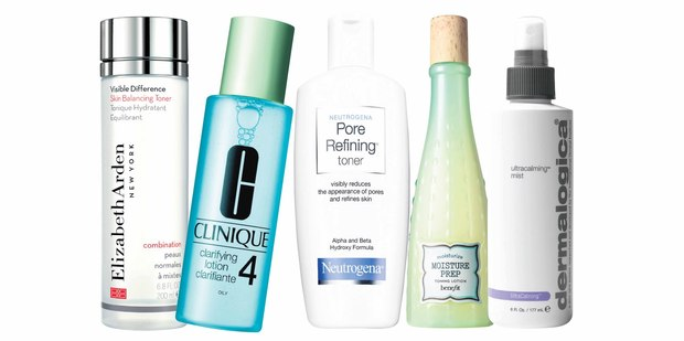 Elizabeth Arden Visible Difference Skin Balancing Toner; Clinique Clarifying Lotion No.4; Neutrogena Pore-Refining Toner; Benefit Moisture Prep Toning Lotion; Dermalogica Ultra Calming Mist.
