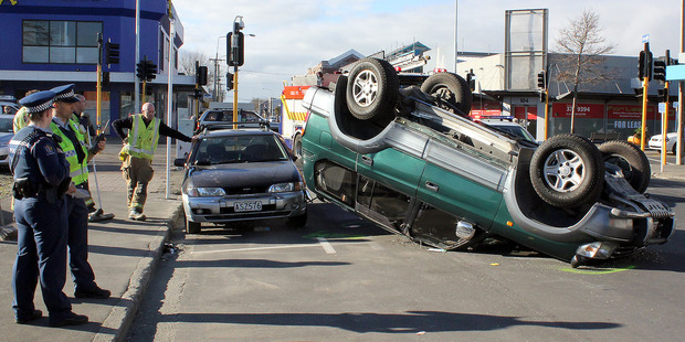The crash on the corner of St Asaph and Colombo Streets. Photo / Geoff Sloan