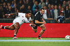 Manu Tuilagi competes with Israel Dagg for the ball. Photo / Getty Images