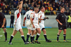 England players celebrate their side's 15-13 win over the All Blacks in 2003. Photo /Getty Images