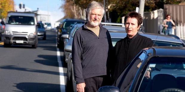 Peter Stewart and Christine Cavanagh don't want cars from outer suburbs left all day in Herne Bay. Photo / Dean Purcell