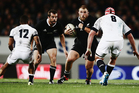 Owen Franks of the All Blacks charges forward. Photo / Getty Images
