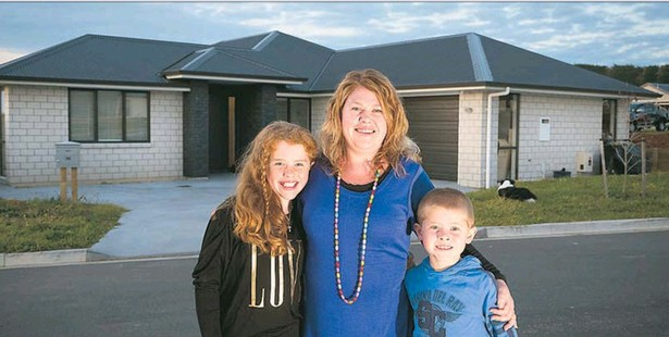 Michelle Pine, here with Briana, 9, and Aiden, 7, says she and husband Jarrad found building in Tauranga much cheaper than in Auckland.