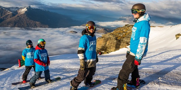 Boys ready for their first run on Coronet Peak's M1 - Finn, Tiarn, Jacob and Cooper. Photo supplied