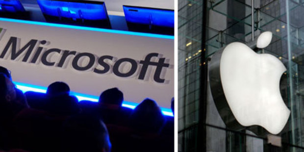 Apple and Microsoft are the targets of criticism by China's state-run media. Photo / AP, AFP