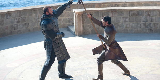 The Mountain takes on the Red Viper in last night's episode of Game of Thrones.