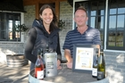 Kirsten Searle and Jeremy Hyland with their trophies from the Gisborne Regional Wine Awards.