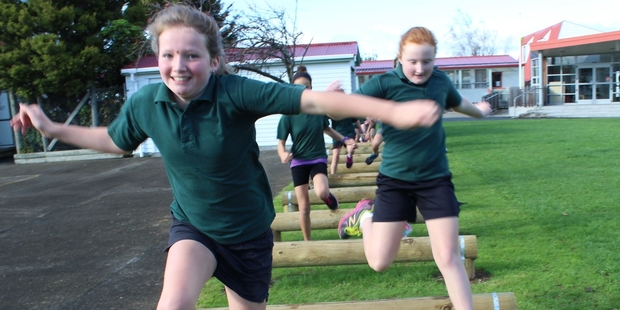 St Joseph's School pupils Imogen Murphy and Clare Seatter set off on the fitness track. Photo/Christine McKay