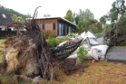 The restored caravan of former league player Richie Barnett at Matarangi was destroyed by a falling tree.