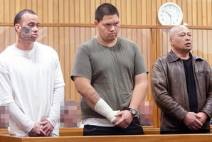From left to right Terere MacDonald, Deuce Savage, Derek Savage appear in the Rotorua High Court. Photo / Ben Fraser