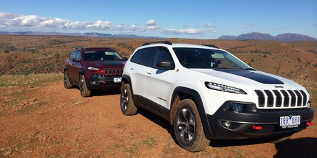 The 2014 Trailhawk easily conquered the highest peak of Willow Spings, Flinders Range, South Australia. Picture / Liz Dobson