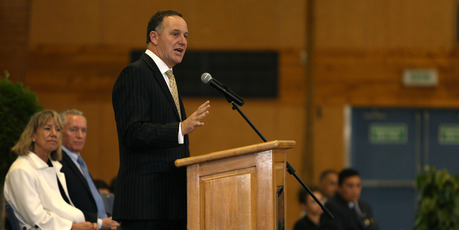 John Key spoke at a combined assembly for Tauranga Boys and Girls Colleges held in the Tauranga Boys College Gym