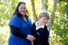 Julie Herbert and her 12 year old grandson Ryan Herbert. Photo / Chris Gorman