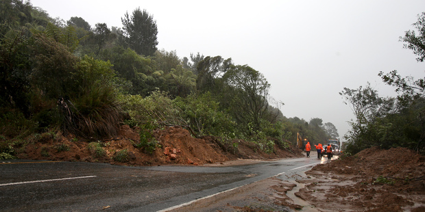 Storm. Slips on the Kaimai Ranges close the state highway to all traffic