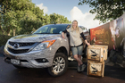 Tineke Joustra delivered Tasmanian devils to Auckland Zoo using the Mazda BT-50.Picture / Ted Baghurst