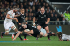 All Blacks lock Brodie Retallick against England, during the 2nd test match of the Steinlager Series. Photo / Brett Phibbs