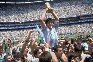 Football legend Diego Maradona leads Argentina to its second World Cup triumph in Mexico City in 1986. Photo / AP