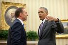 President Barack Obama talks with Australian Prime Minister Tony Abbott. Photo / AP