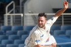 New Zealand's Mark Craig bowls during the second innings on the fourth day of their first cricket Test match against the West Indies in Kingston, Jamaica. Photo / AP