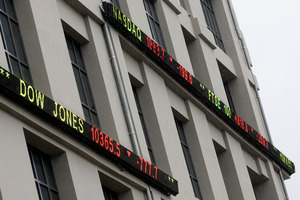 The stocker ticker on the NZX building in Wellington. New Zealand Herald Photograph by Mark Mitchell