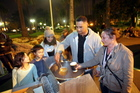 The Swannell family (from left) 7-year-old twins Rachel and Zedekiah, Stephanie, 17, Kevin and Kiri, help serve  soup in Clive Square, Napier. Photo/Paul Taylor