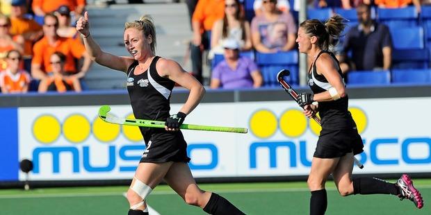 Anita Punt celebrates after scoring against Japan. Photo / Dirk Markgraf, www.265-images.com