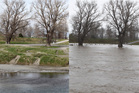 The Ngaruroro River pictured from Chesterhope Bridge, Pakowhai, on Monday, left, and on Thursday, right.