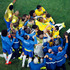 Brazil players celebrate Neymar's first goal. Photo / AP