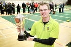 Canterbury's Ashley Diamond with his trophy after winning the national indoor bowls singles title in Taradale yesterday. Photo/Warren Buckland