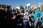 Uruguayan fans have been making themselves heard in Fortaleza. Photo / AP